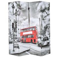 vidaXL Folding Room Divider 160x170 cm London Bus Black and White