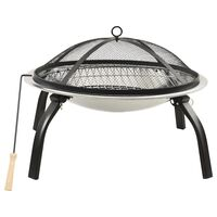 vidaXL 2-in-1 Fire Pit and BBQ with Poker 56x56x49 cm Stainless Steel