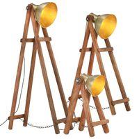 vidaXL Floor Lamps 3 pcs Brass E27 Solid Mango Wood
