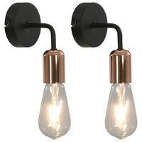 vidaXL Wall Lights 2 pcs with Filament Bulbs 2 W Black and Copper E27