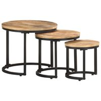 vidaXL Side Tables 3 pcs Rough Mango Wood