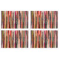 vidaXL Placemats 4 pcs Chindi Plain Multicolour 30x45 cm Cotton