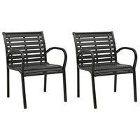 vidaXL Garden Chairs 2 pcs Steel and WPC Black