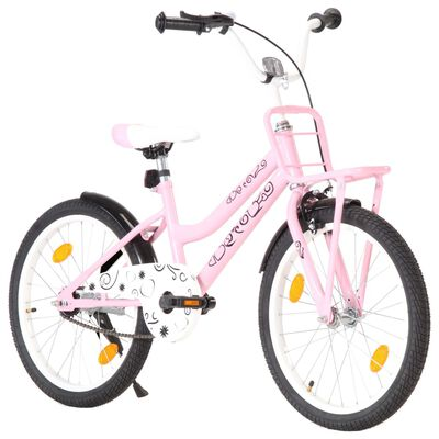 vidaXL Kids Bike with Front Carrier 20 inch Pink and Black