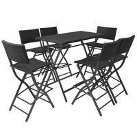 vidaXL 7 Piece Folding Outdoor Dining Set Steel Poly Rattan Black