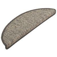 vidaXL Self-adhesive Stair Mats Sisal-Look 15 pcs 56x20 cm Silver