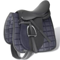 """Horse Riding Saddle Set 17.5"""" Real Leather Black 18 cm 5-in-1"""
