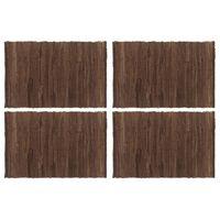 vidaXL Placemats 4 pcs Chindi Plain Brown 30x45 cm Cotton