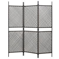 vidaXL 3-Panel Room Divider Poly Rattan Brown 180x200 cm