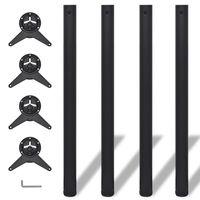 4 Height Adjustable Table Legs Black 870 mm