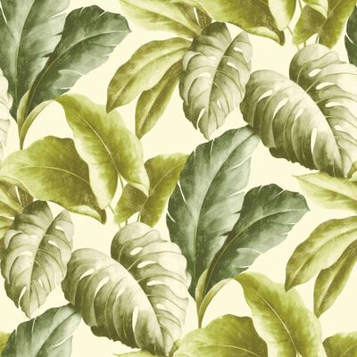 DUTCH WALLCOVERINGS Wallpaper Tropical Leaves Green and White