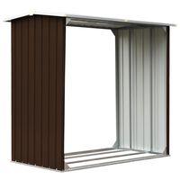 vidaXL Log Storage Shed Galvanised Steel 172x91x154 cm Brown