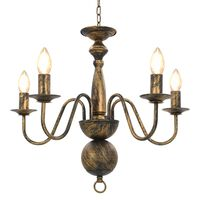 vidaXL Chandelier Antique Black 5 x E14 Bulbs