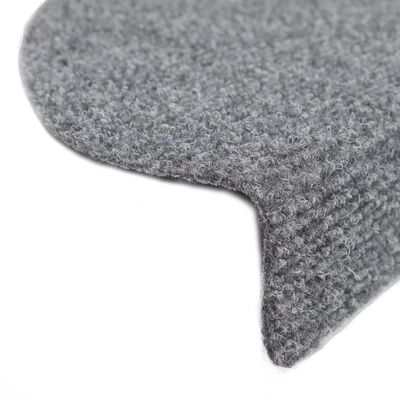 vidaXL 15 Self-adhesive Stair Mats Needle Punch 54x16x4cm Light Grey