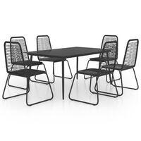 vidaXL 7 Piece Garden Dining Set PVC Rattan Black