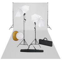 vidaXL Photo Studio Kit with Lamps. Umbrellas. Backdrop and Reflector