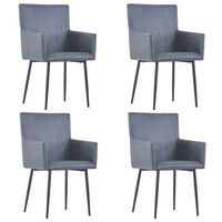 vidaXL Dining Chairs with Armrests 4 pcs Grey Faux Suede Leather