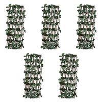 vidaXL Willow Trellis Fences 5 pcs with Artificial Leaves 180x30 cm