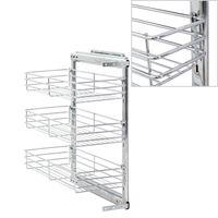 vidaXL 3-Tier Pull-out Kitchen Wire Basket Silver 47x25x56 cm