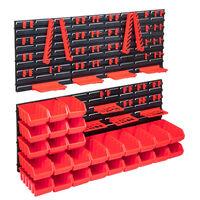 vidaXL 103 Piece Storage Bin Kit with Wall Panels Red and Black