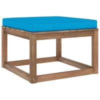 vidaXL Garden Footrest with Light Blue Cushion