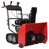 vidaXL Two-stage Snow Thrower Red and Black Plastic 196 cc 6.5 HP