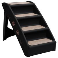 vidaXL Folding Dog Stairs Black 62x40x49.5 cm