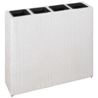 vidaXL Garden Raised Bed with 4 Pots Poly Rattan White