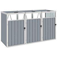 vidaXL Triple Garbage Bin Shed Grey 213x81x121 cm Steel