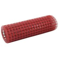 vidaXL Chicken Wire Fence Steel with PVC Coating 25x0.5 m Red