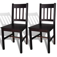 vidaXL Dining Chairs 2 pcs Dark Brown Pinewood
