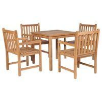 vidaXL 5 Piece Outdoor Dining Set Solid Teak Wood