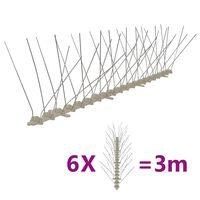 vidaXL 4-row Plastic Bird & Pigeon Spikes Set of 6 3 m