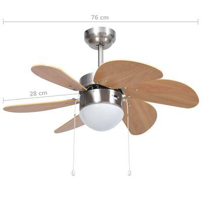 vidaXL Ceiling Fan with Light 76 cm Light Brown