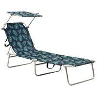 vidaXL Folding Sun Lounger with Canopy Steel Leaves Print