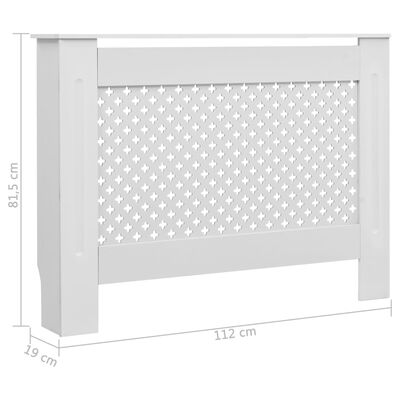 vidaXL Radiator Covers 2 pcs White 112x19x81.5 cm MDF,