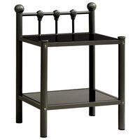 vidaXL Bedside Cabinet Black 45x34.5x60.5 cm Metal and Glass