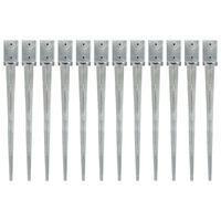 vidaXL Ground Spikes 12 pcs Silver 9x9x90 cm Galvanised Steel