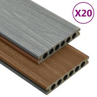 vidaXL WPC Decking Boards with Accessories Brown and Grey 40 m² 2.2 m