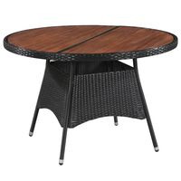 vidaXL Garden Table 115x74 cm Poly Rattan and Solid Acacia Wood