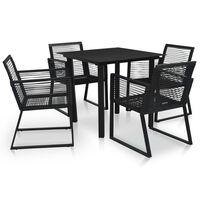 vidaXL 5 Piece Outdoor Dining Set PVC Rattan Black