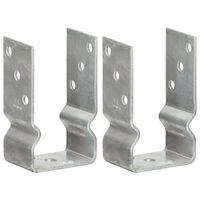 vidaXL Fence Anchors 2 pcs Silver 8x6x15 cm Galvanised Steel