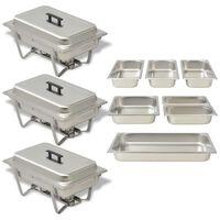vidaXL 3 Piece Chafing Dish Set Stainless Steel