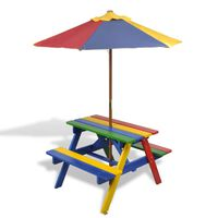 vidaXL Kids' Picnic Table with Benches and Parasol Multicolour Wood