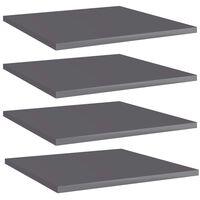 vidaXL Bookshelf Boards 4 pcs High Gloss Grey 40x40x1.5 cm Chipboard