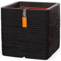 Capi Planter Nature Rib Square 40x40 cm Black KBLR903