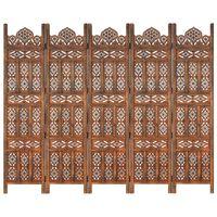 vidaXL Hand carved 5-Panel Room Divider Brown 200x165 cm Solid Mango Wood