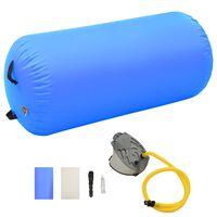 vidaXL Inflatable Gymnastic Roll with Pump 120x90 cm PVC Blue
