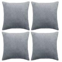 vidaXL Cushion Covers 4 pcs Velour 40x40 cm Grey