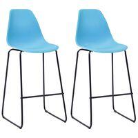 vidaXL Bar Chairs 2 pcs Blue Plastic